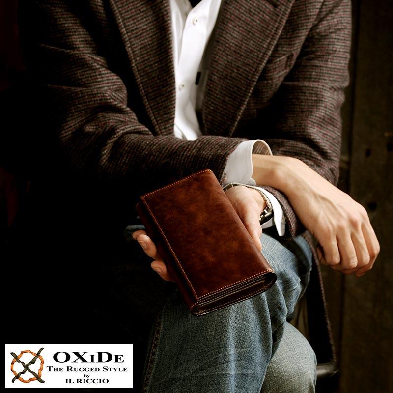 【 ポイント2倍 】 イタリアンレザー 財布 三つ折り財布 OxiDe 三つ折り長財布 男性用 メンズ 長財布 三つ折り 本革 小銭入れあり 革 レザー 三つ折り財布 大容量 【送料無料】