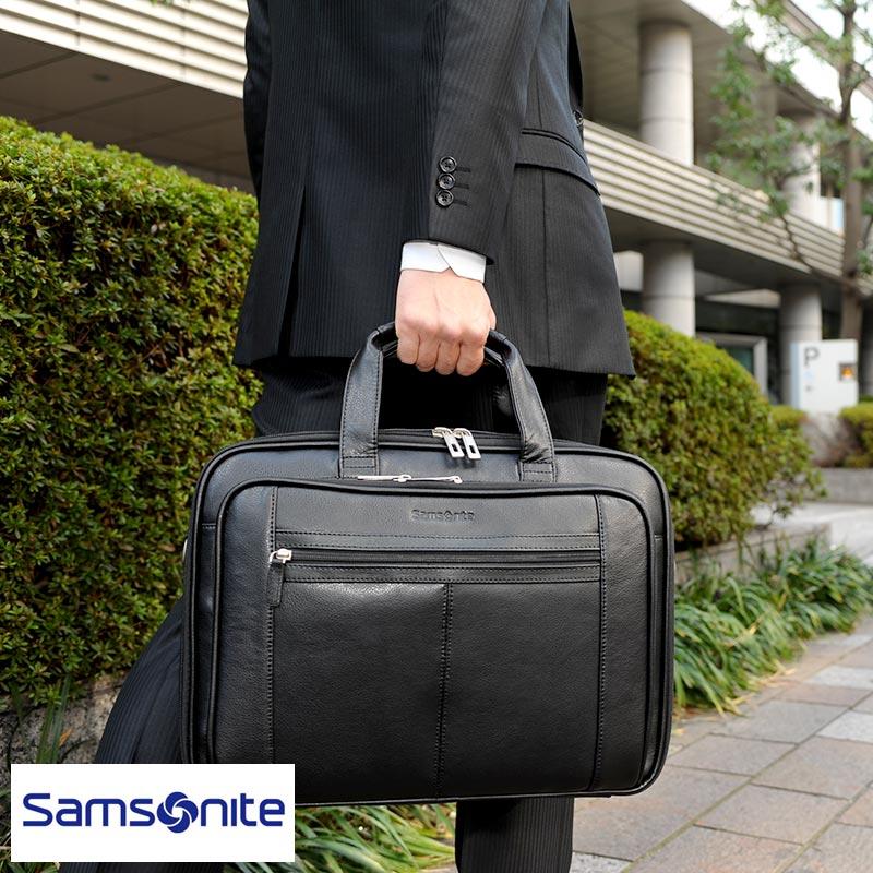 【 ポイント2倍 】 Samsonite サムソナイト メンズ ブリーフケース 本革 2層 ビジネスバッグ 43122-1041 レザー 大容量 B4 大きい 出張 書類 仕事 大型 2way ビジネス バッグ 【あす楽対応】