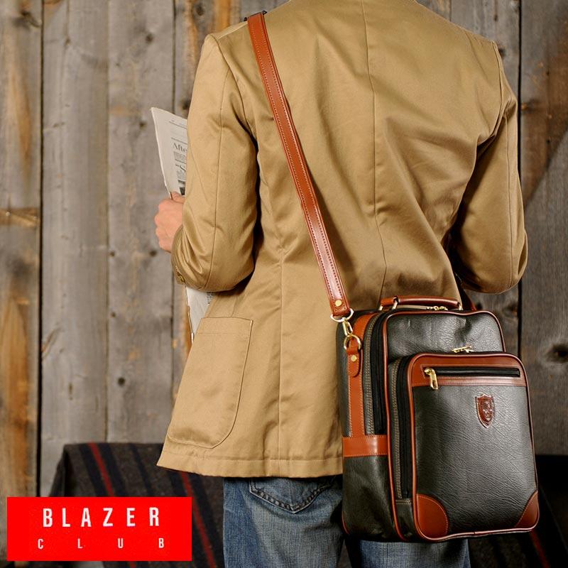 【 ポイント2倍 】 BLAZER CLUB 縦型ショルダーバッグ /男性用/メンズ/ショルダーバッグ/斜めがけバッグ/B5/iPad/合皮/鞄/かばん/日本製/おしゃれ/軽量/ 【送料無料】