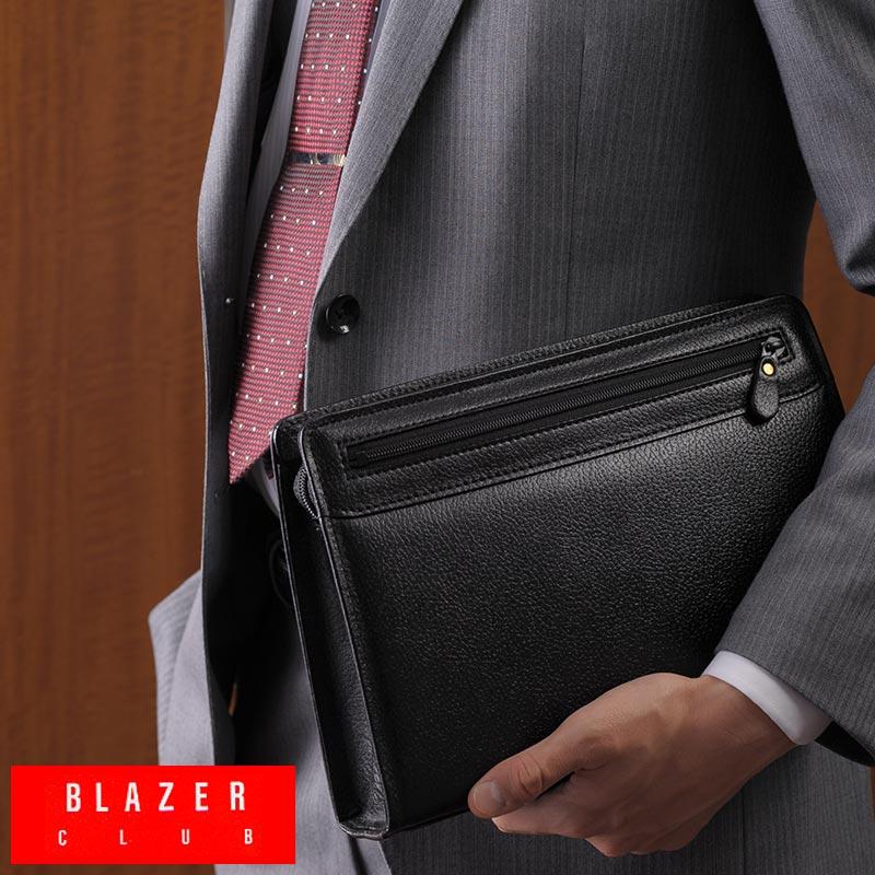 【 ポイント2倍 】 BLAZER CLUB 牛革型押しセカンドバッグ ブラック 25825 /男性用/メンズ/セカンドバック/日本製/革/本革/レザー/フォーマル/結婚式/冠婚葬祭/A5/鞄/かばん/バッグ/ 【送料無料】