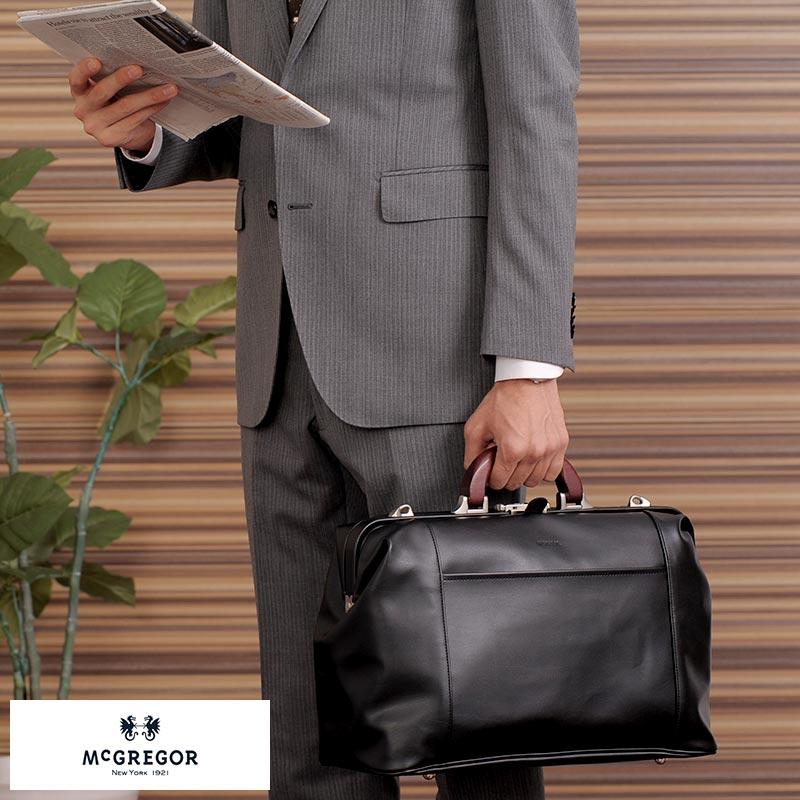 【 ポイント2倍 】 McGREGOR ダレスバッグ 木製ハンドル ブラック 21955 /男性用/メンズ/ダレスバッグ/日本製/合皮/2way/A4/ビジネスバッグ/通勤/鞄/かばん/バッグ/ 【あす楽対応】 【送料無料】
