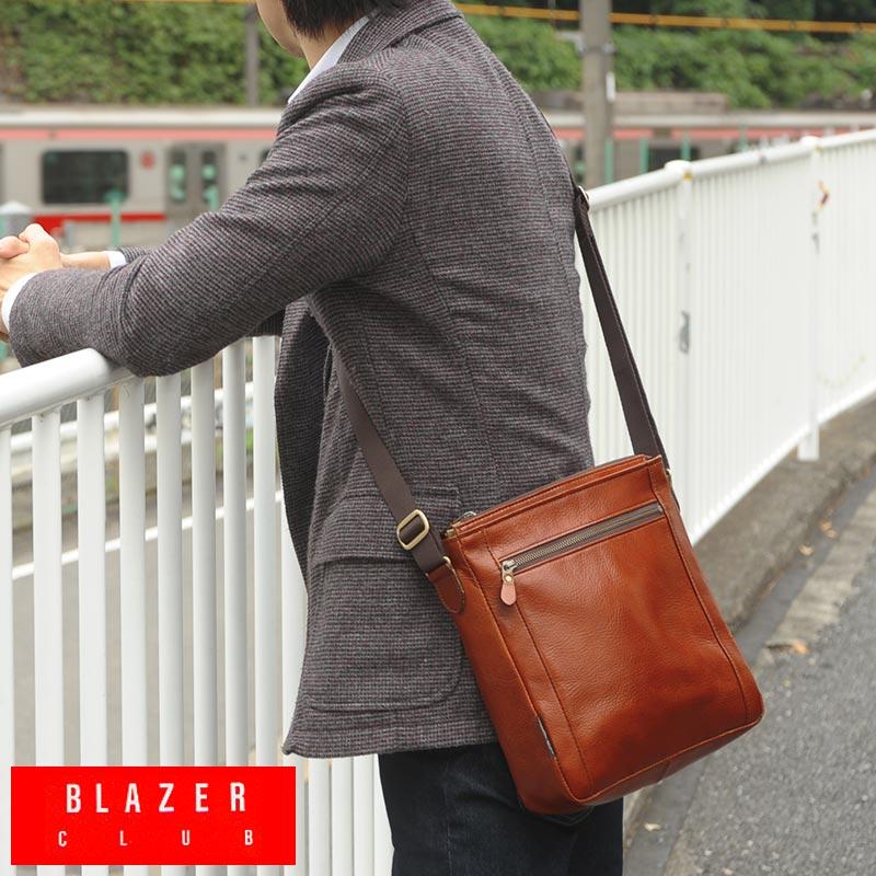 【 ポイント2倍 】 BLAZER CLUB 日本製オイルレザーショルダーバッグ /男性用/メンズ/ショルダーバッグ/革/本革/レザー/斜めがけバッグ/B5/日本製/シンプル/iPad/鞄/かばん/バッグ/ 【送料無料】