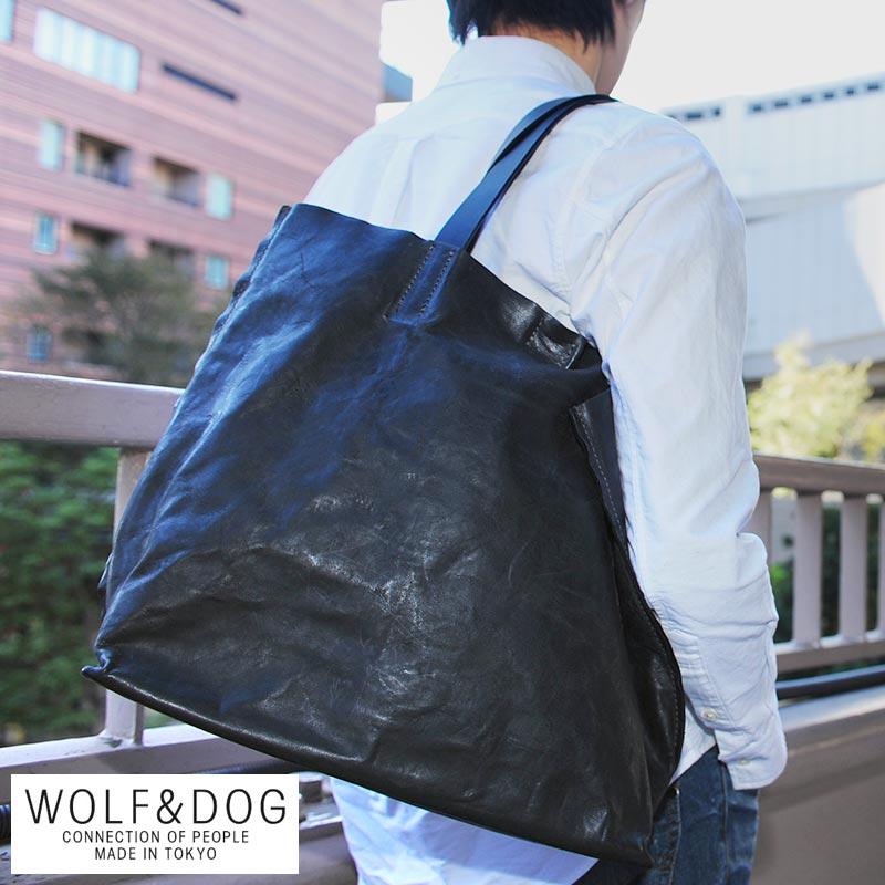 WOLF&DOG レザートートバッグ ホワイトホース /男性用/メンズ/トートバッグ/馬革/本革/ホースレザー/日本製/A4/大きめ/メンズトートバッグ/鞄/かばん/バッグ/ウルフ&ドッグ/