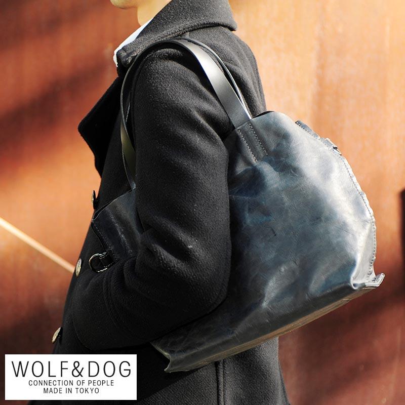 WOLF&DOG 2wayレザーミドルトートバッグ ホワイトホース /男性用/メンズ/トートバッグ/馬革/本革/ホースレザー/日本製/B5/小さめ/レザートートバッグ/鞄/かばん/バッグ/ウルフ&ドッグ/