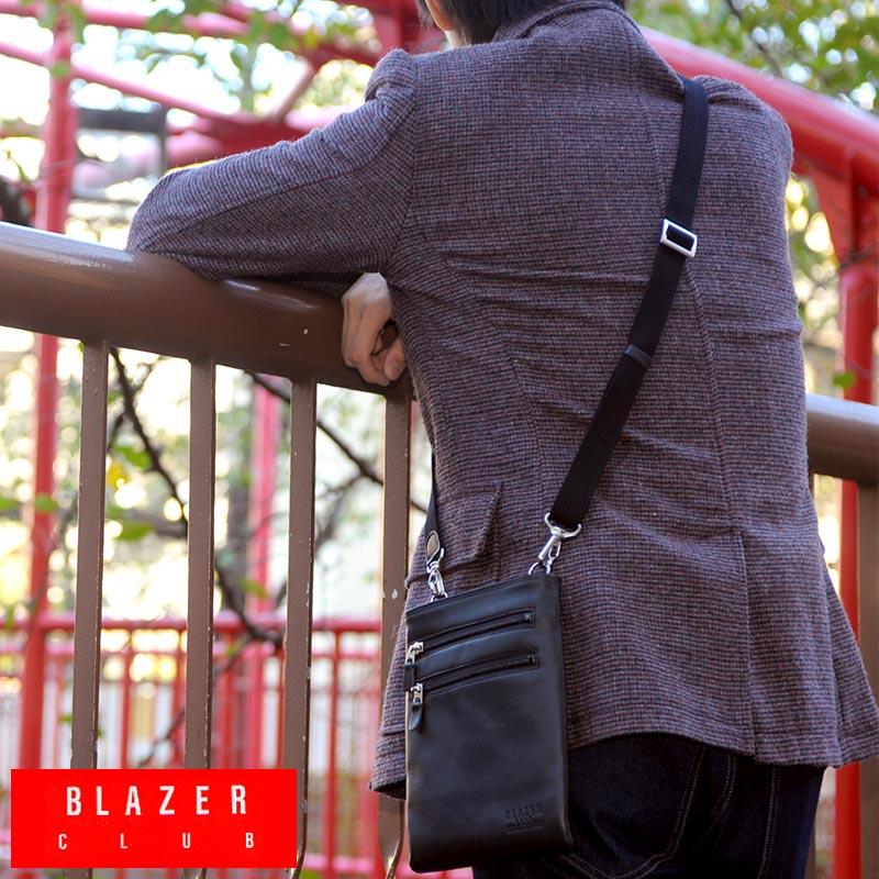 【 ポイント2倍 】 BLAZER CLUB スリムミニショルダーバッグ ブラック No.16367-01 /男性用/メンズ/ショルダーバック/革/本革/レザー/日本製/旅行/ミニバッグ/スリム/薄型/小型/コンパクト/鞄/かばん/バッグ/ 【送料無料】