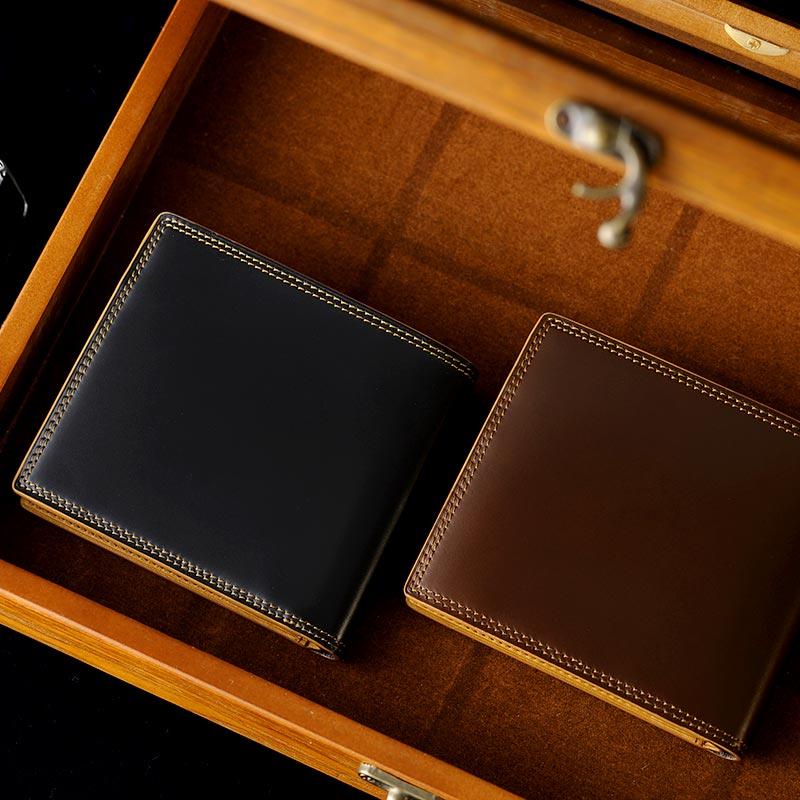 コードバン 二つ折り財布 日本製 GENUINE CORDOVAN コードバン二つ折り財布 小銭入れあり メンズ 大人 男性 本革 レザー 馬革 日本製 国産 box型 小銭入れ ボックス型
