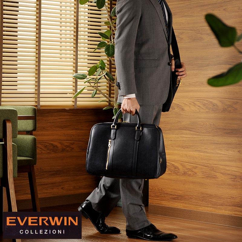 【 ポイント2倍 】 EVERWIN ボストンバッグ メンズ 2way メンズ ビジネスバッグ 日本製 ショルダー 肩掛け おしゃれ 旅行 カバン 合皮 1泊 2泊 【送料無料】
