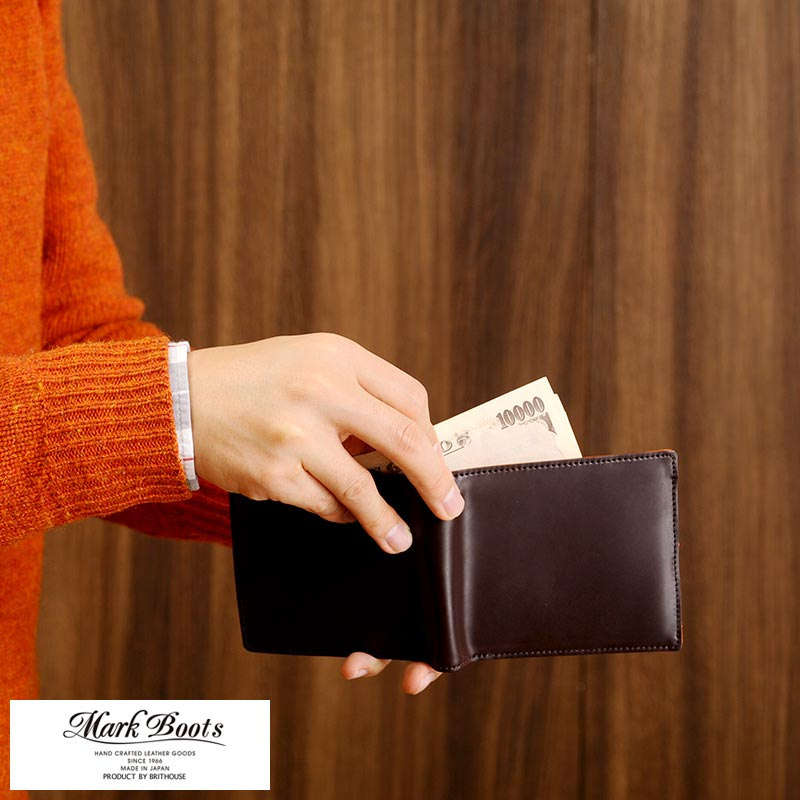 【 ポイント2倍 】 コードバン 二つ折り財布 日本製 Mark Boots 二つ折り財布 コードバン 小銭入れあり 日本製 男性用 メンズ 財布 二つ折り box型小銭入れ 革 本革 レザー バイカラー プレゼント 【送料無料】