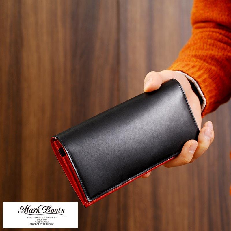【 ポイント2倍 】 コードバン 長財布 日本製 Mark Boots コードバン 長財布 小銭入れあり 日本製 男性用 メンズ 財布 革 本革 レザー 小銭入れ付き バイカラー プレゼント 【送料無料】