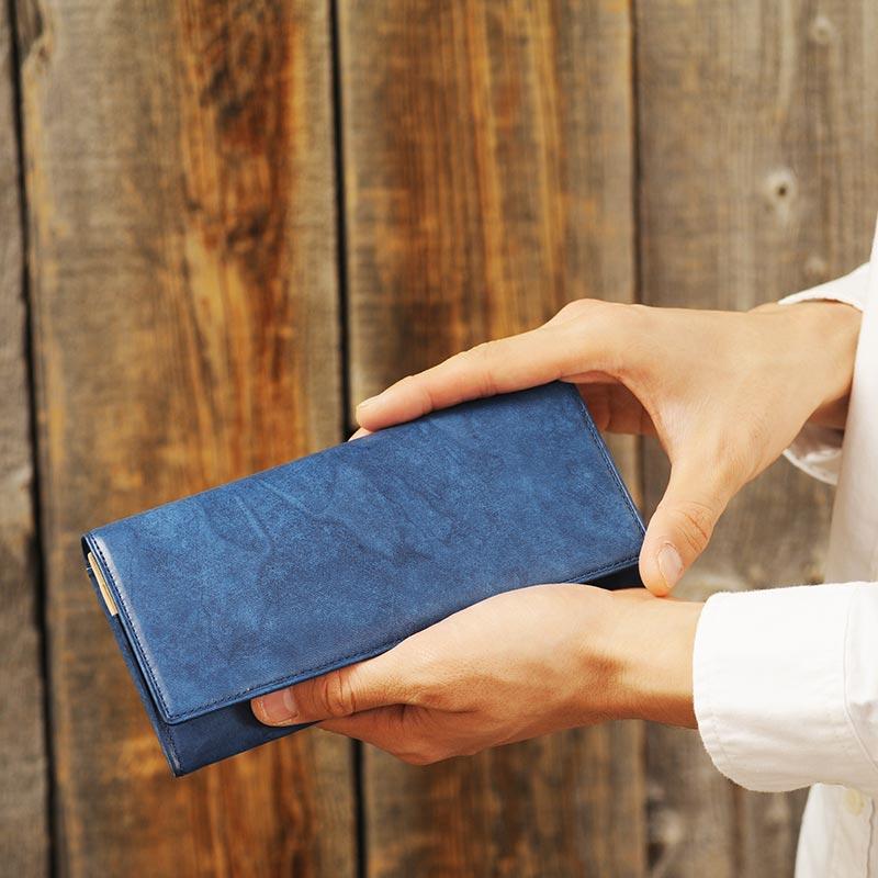 【 ポイント2倍 】 藍染 長財布 小銭入れあり エチオピアンヤンピー 150330-1 男性用 メンズ 財布 小銭入れ付き 革 本革 羊革 和風 プレゼント 【送料無料】