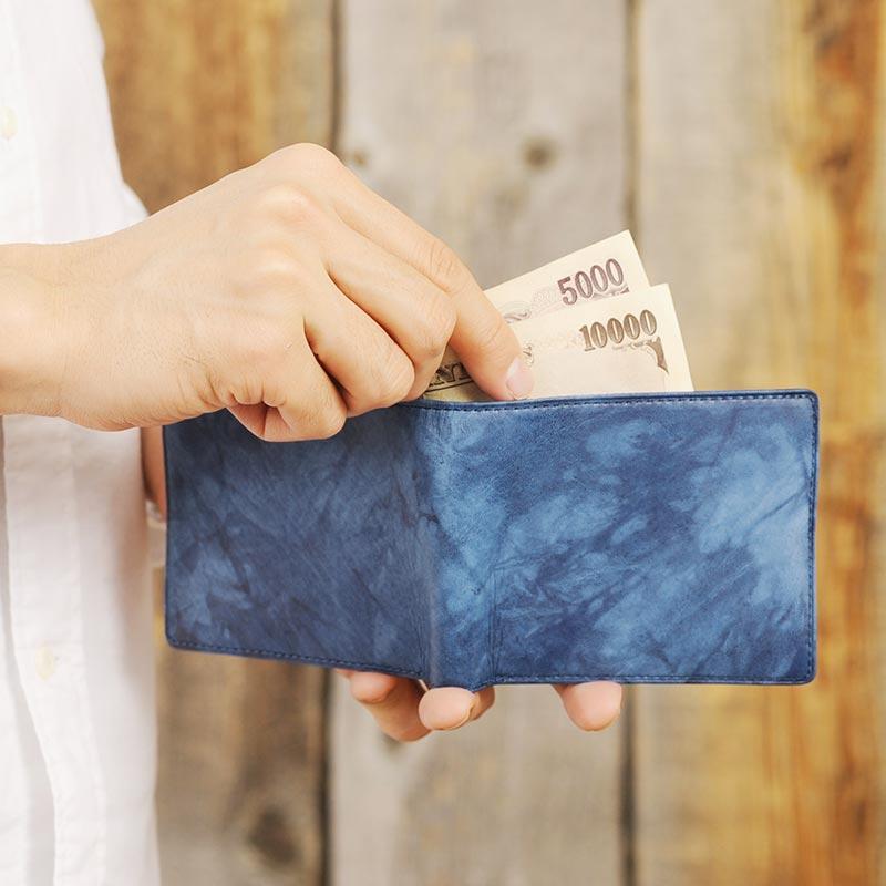 【 ポイント2倍 】 藍染 二つ折り財布 小銭入れなし エチオピアンヤンピー 150330-4 メンズ 大人 男性 本革 札入れ レザー 和風 青 ブルー 羊革 ヒツジ 落ち着く