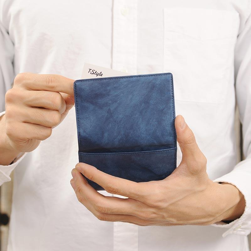 【 ポイント2倍 】 藍染 名刺入れ エチオピアンヤンピー 150330-5 男性用 メンズ 名刺ケース 革 本革 羊革 カードケース 和風 プレゼント 【送料無料】