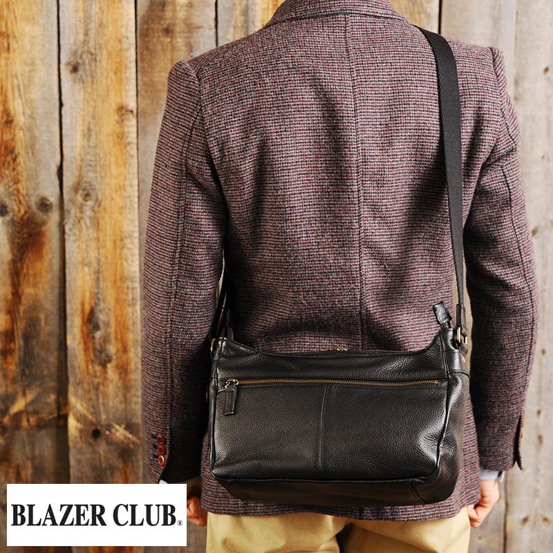 【 ポイント2倍 】 BLAZER CLUB 牛革ミニショルダーバッグ 舟形 /男性用/メンズ/ショルダーバッグ/ミニ/革/本革/レザー/日本製/A5/鞄/かばん/バッグ/ 【送料無料】