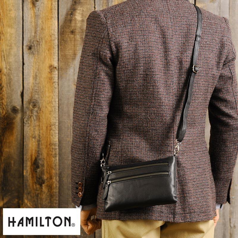 【 ポイント2倍 】 HAMILTON 2wayショルダーポーチ /男性用/メンズ/ミニショルダーバッグ/革/本革/レザー/クラッチバッグ/セカンドバッグ/鞄/かばん/バッグ/ 【送料無料】