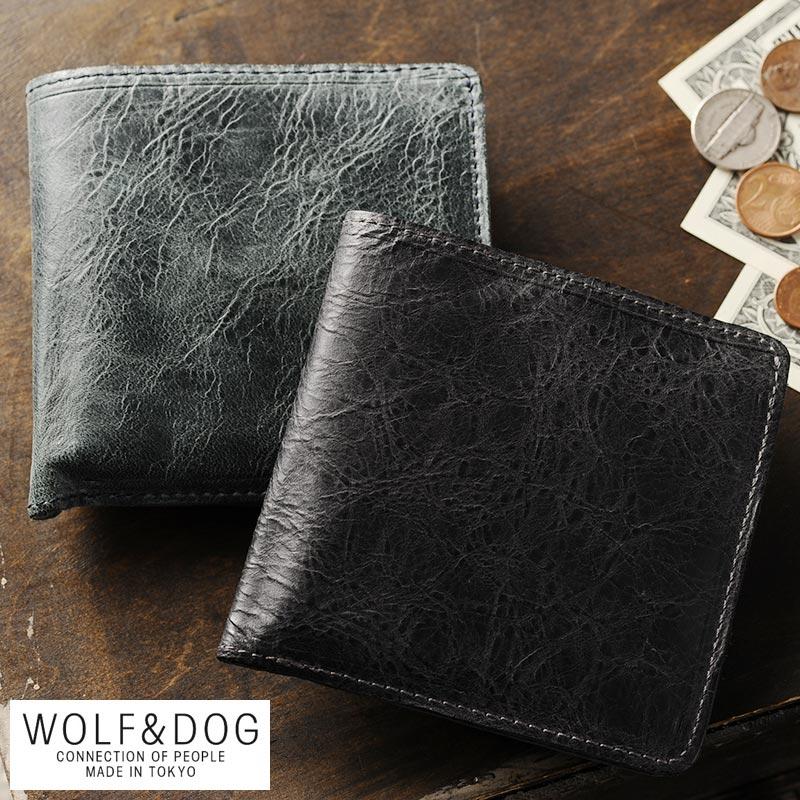 WOLF&DOG 二つ折り財布 小銭入れあり ホワイトホース メンズ 大人 男性 本革 レザー 馬革 日本製 国産 box型 小銭入れ ボックス型 遊び