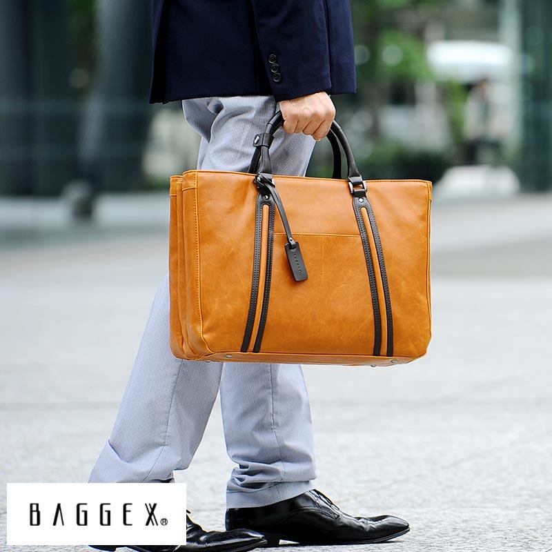 BAGGEX ビジネスバッグ メンズ 三層式 VINTAGEi ブリーフケース 通勤 カジュアル 肩掛け ショルダー B4 2way 合皮 自立 底鋲 書類 大人 男性 鞄 かばん バッグ 【送料無料】