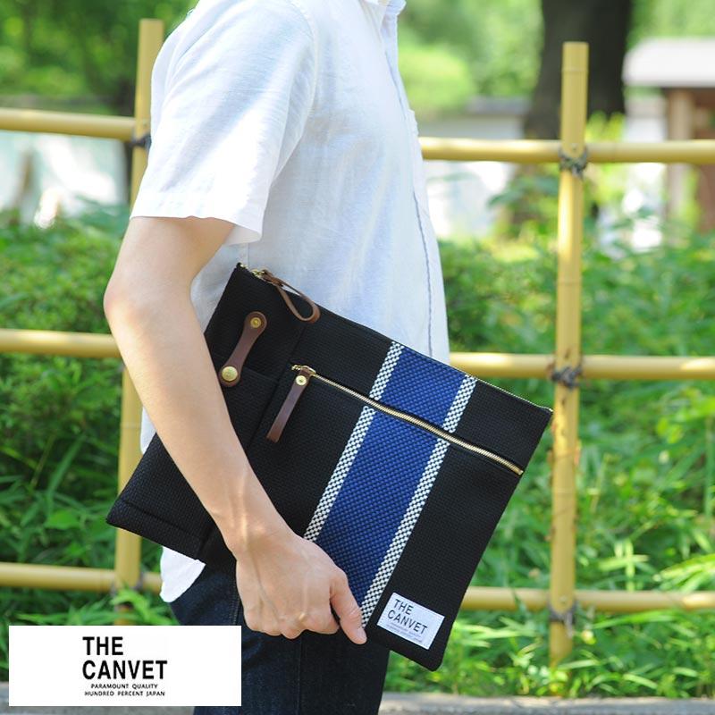 【 ポイント2倍 】 THE CANVET 刺し子クラッチバッグ Fujioka Carry Pouch 男性用 メンズ バッグインバッグ 日本製 A4 コットン 和風 鞄 かばん バッグ 【送料無料】