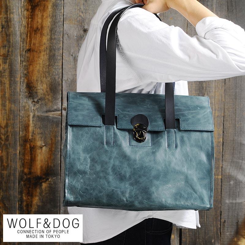 【 ポイント2倍 】 WOLF&DOG フラップトートバッグ ホワイトホース /男性用/メンズ/トートバッグ/馬革/本革/レザー/日本製/A4/鞄/かばん/バッグ/ 【送料無料】