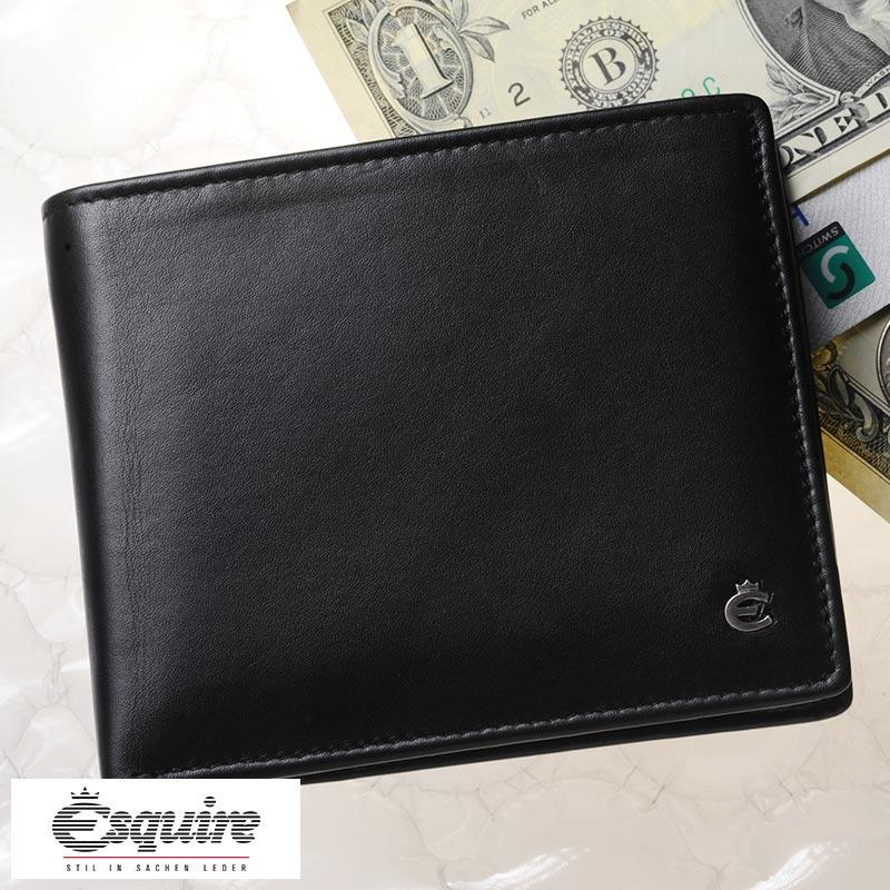 【 ポイント2倍 】 Esquire 二つ折り財布 小銭入れあり Harry Scheintasche ブラック 2295-49 メンズ 大人 男性 本革 レザー 黒 ドイツ製 ブランド BOX型 小銭入れ ボックス型 カード入れ 多い シンプル 【送料無料】