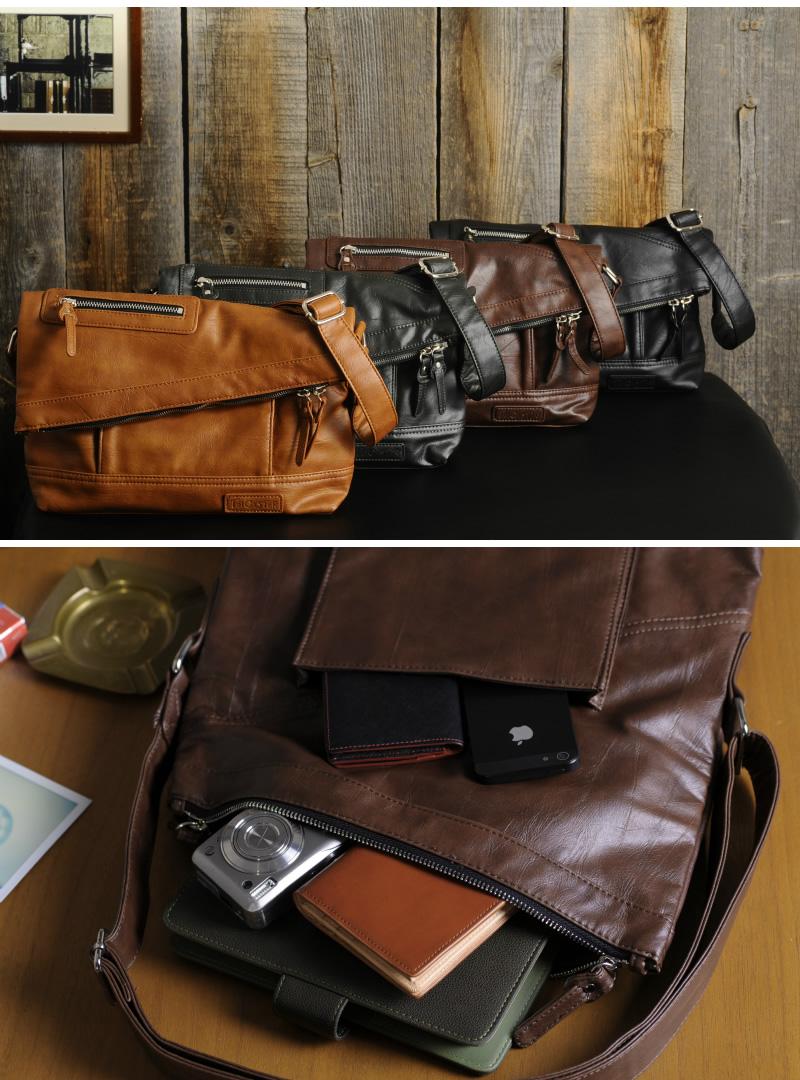 Trickster Men's Mini Shoulder Bag Vintage PU Leather Martin tr65