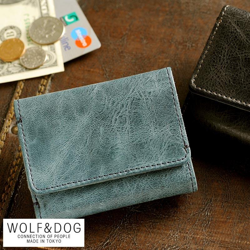 【 ポイント2倍 】 WOLF&DOG 馬革三つ折りコンパクト財布 ホワイトホース /男性用/メンズ/財布/コンパクト/小銭入れあり/革/本革/レザー/日本製/ホースレザー/ヴィンテージ/プレゼント/