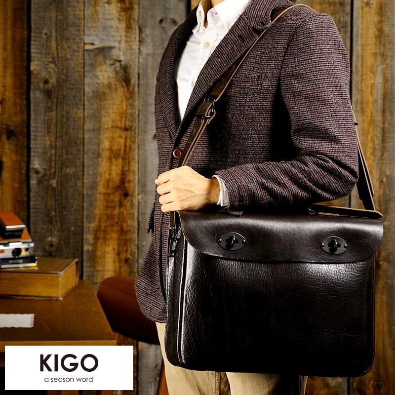 【 ポイント2倍 】 KIGO ハーフフラップ 2wayショルダーバッグ Lサイズ BULL /男性用/メンズ/ショルダーバッグ/大きめ/牛革/本革/レザー/日本製/ブルハイド/B4/2way/鞄/かばん/バッグ/ 【送料無料】