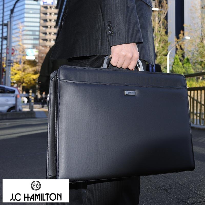 【 ポイント2倍 】 J.C HAMILTON アルミハンドル口割れダレスバッグ ブラック No.22301-01 男性用 メンズ ダレスバッグ 合皮 日本製 B4 ビジネスバッグ ショルダー付き 2way 鞄 かばん バッグ 【送料無料】