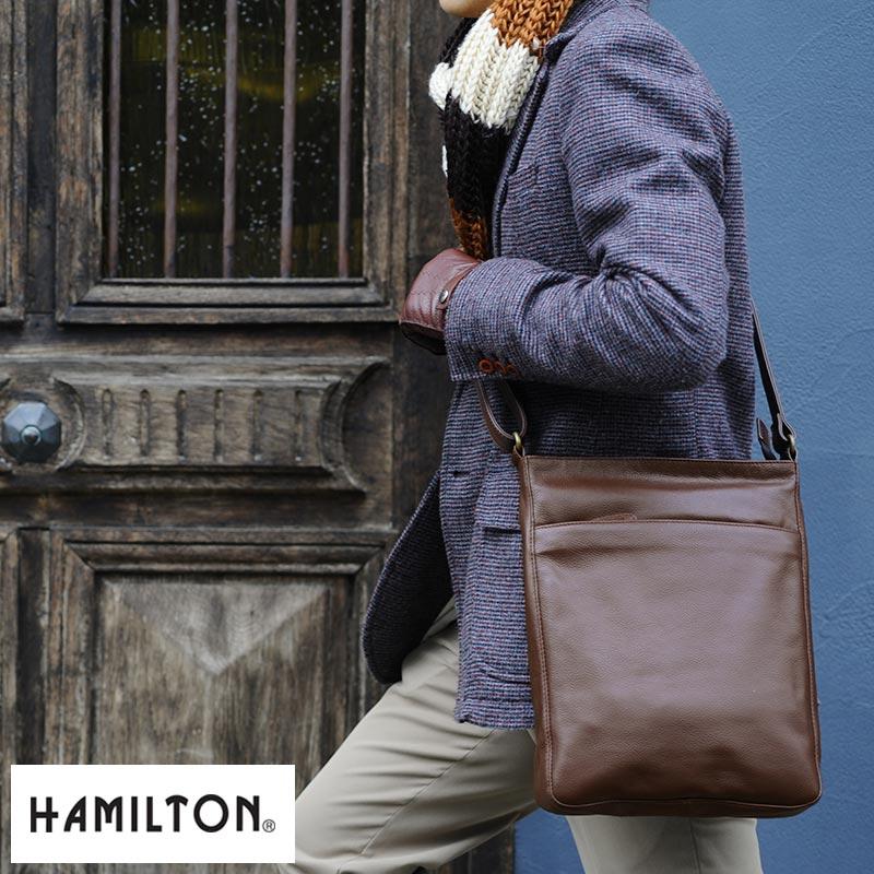 【 ポイント2倍 】 HAMILTON 牛革薄マチショルダーバッグ 【送料無料】