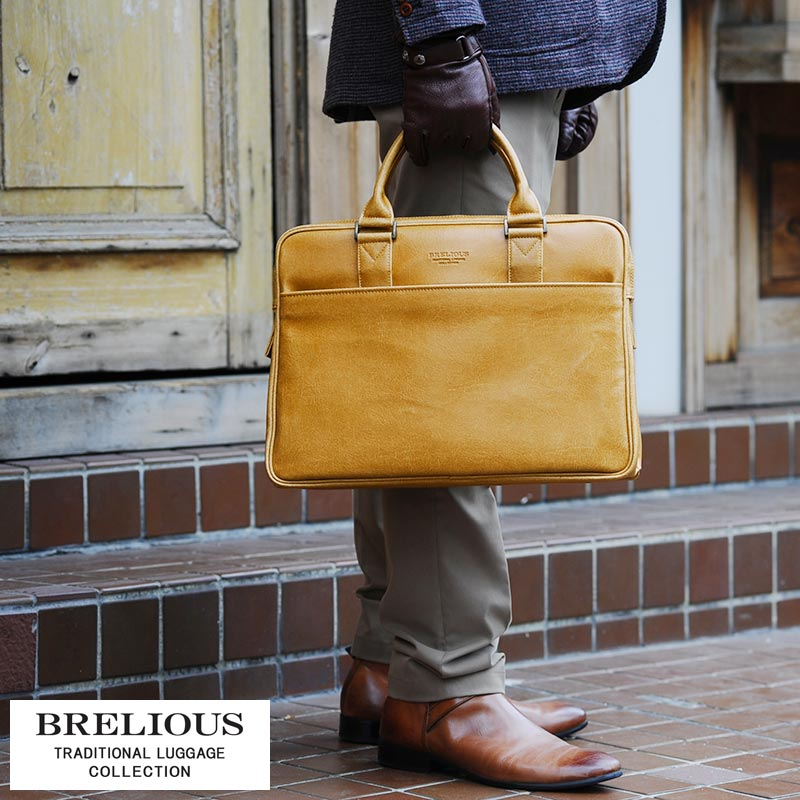 【 ポイント2倍 】 BRELIOUS ビジネスバッグ メンズ 男性用 ブリーフケース 鞄 かばん バッグ 日本製 B4 合皮 【送料無料】