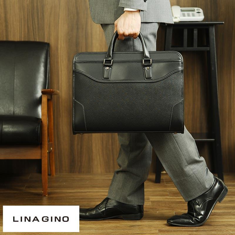 【 ポイント2倍 】 LINA GINO 2wayダレスバッグ CROSS 男性用 メンズ ビジネスバッグ 合皮 B4サイズ ショルダー付き シンプル 鞄 かばん バッグ 【送料無料】