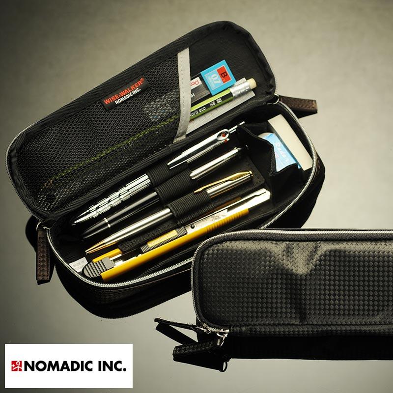 ビジネスでも使える シンプルで機能的なペンケース ポイント5倍 ペンケース ビジネス 大容量 NOMADIC カーボン調 品質保証 メンズ 二階建て おしゃれ 大人 茶色 ブラウン ブラック 筆入れ 仕切り 軽量 あす楽対応 たくさん入る シンプル 軽い 筆箱 黒 期間限定送料無料