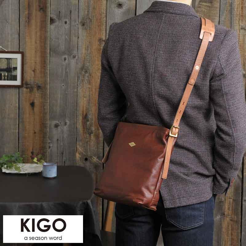 【 ポイント2倍 】 KIGO アンティーク牛革ミニショルダーバッグ 男性用 メンズ ショルダーバッグ ミニ 縦型 タテ型 革 本革 レザー 日本製 斜めがけ ビンテージ 鞄 かばん バッグ 【送料無料】
