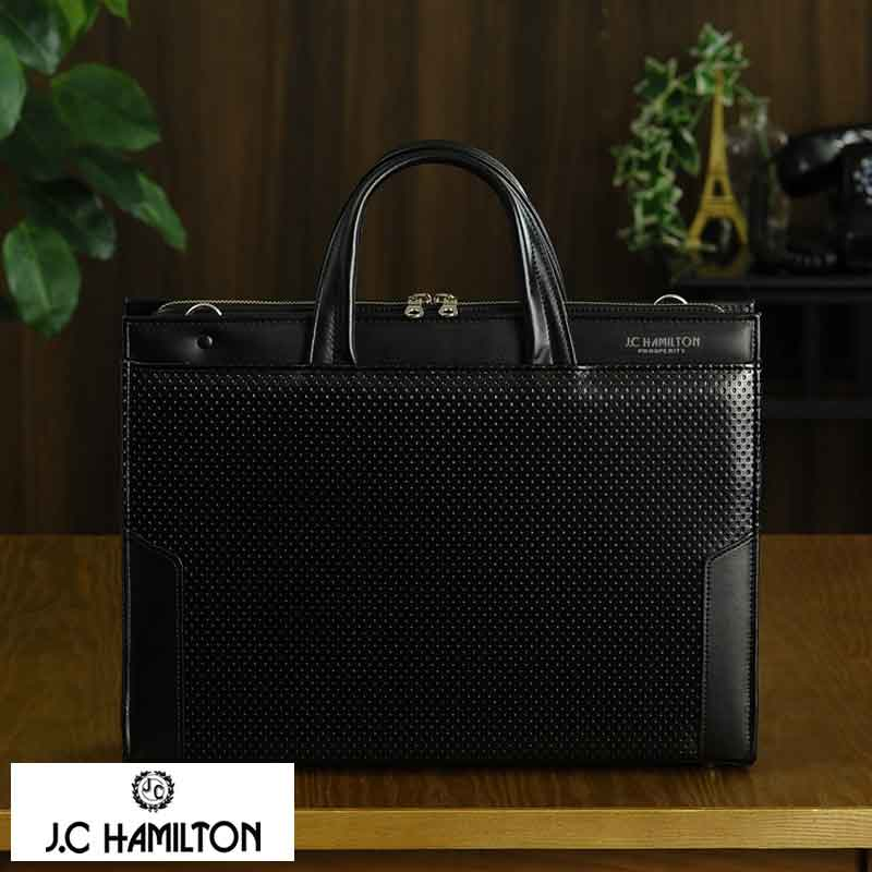 J.C HAMILTON 2wayビジネスバッグ ディンプル加工 ブラック No.22319-01 男性用 メンズ ブリーフケース 日本製 合皮 ビジネスバッグ B4 ショルダー付き 鞄 かばん バッグ