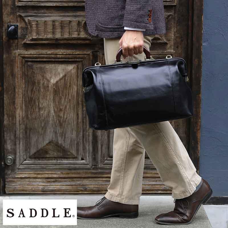 SADDLE 牛革ダレスボストンバッグ 木製ハンドル ブラック No.10430-01 男性用 メンズ ダレスバッグ 革 本革 レザー 日本製 A4 ショルダー付き 2way ビジネスバッグ 鞄 かばん バッグ