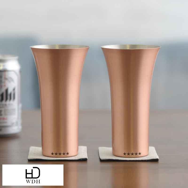 二人で飲まない? 夫婦の会話を育む 新品 送料無料 純銅製タンブラー WDH 純銅製ビアタンブラー 2個セット マット 夫婦グラス プレゼント ギフト 保冷 ペアセット お揃い 両親 ビールグラス 送料無料 人気上昇中 タンブラー