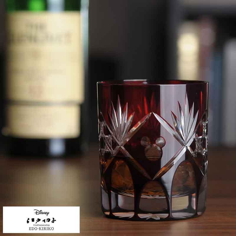 【 ポイント2倍 】 江戸切子 × Disney ロックグラス 籠目 赤 R-311 切子グラス 日本製 ミッキーマウス 男性用 メンズ プレゼント グラス カップ コップ 酒器 【あす楽対応】