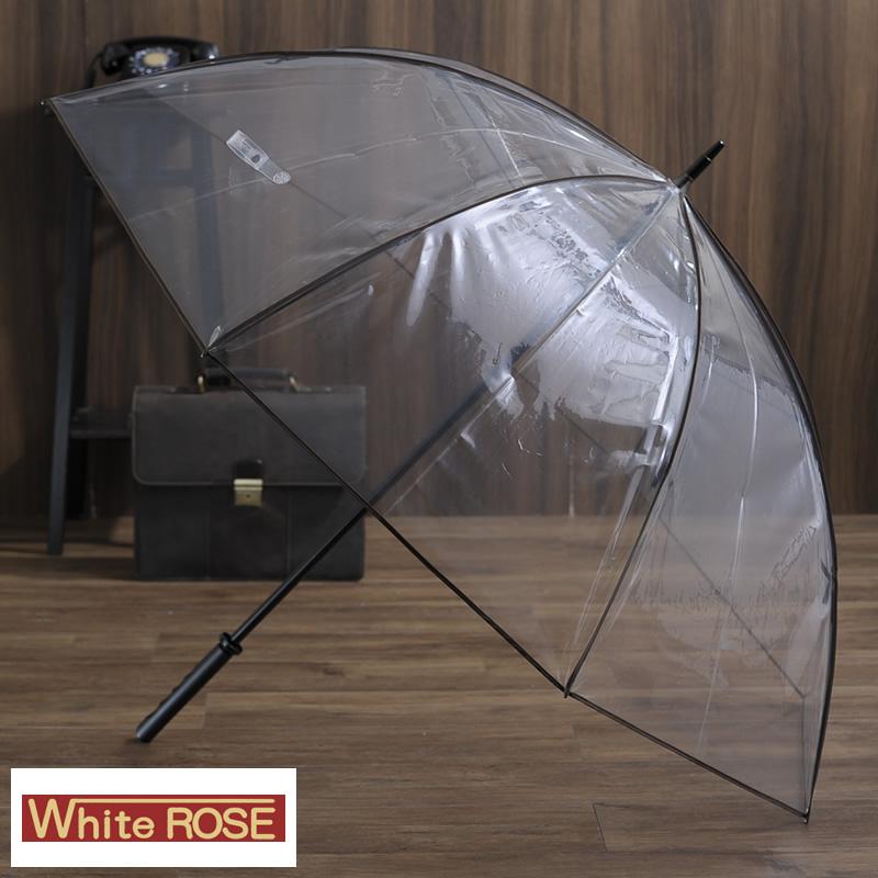White Rose 大きな高級ビニール傘 8本骨 85cm テラ・ボゼン 男性用 メンズ ビニール傘 大きい 丈夫 軽量 日本製 雨傘 長傘 透明 プレゼント ギフト