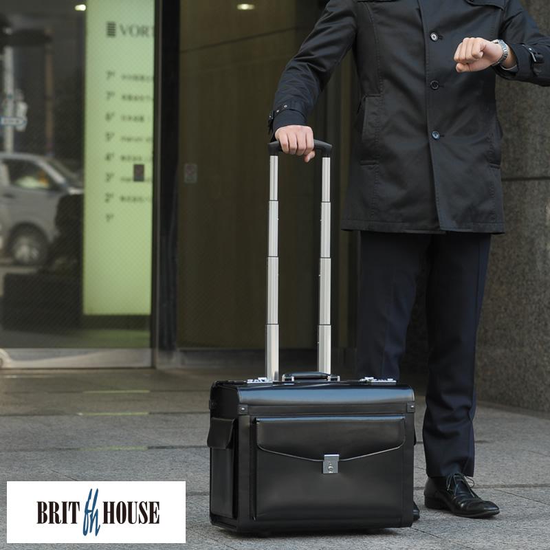 BRIT HOUSE 馬革パイロットケース ブラック 男性用 メンズ フライトケース 革 本革 レザー キャリーバッグ ビジネスバッグ 出張 ビジネス 大荷物 営業 外回り 鞄 かばん バッグ 【送料無料】