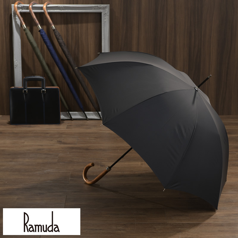 Ramuda 強力撥水 レインドロップ 雨傘 レクタス 8本骨 65 鉄木持ち手 細巻き 軽量 カーボン 長傘