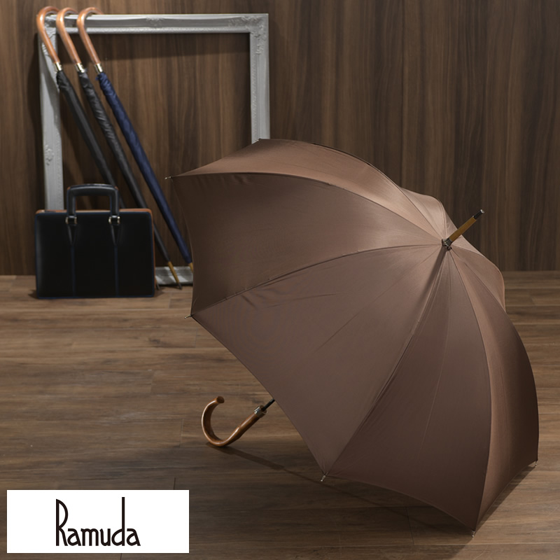 シンプルさの中にも落ち着きある高級感 メンズ傘 Ramuda メンズ 傘 スリム 富士絹 8本骨 63cm 鉄木持ち手 UV加工 可 紳士傘 訳あり 大人 男性 雨傘 高級 低価格化 通勤 細巻き ビジネス ラッピング プレゼント