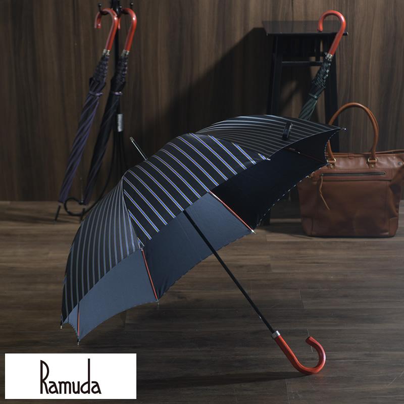 【 ポイント2倍 】 Ramuda メンズ 傘 65cm 甲州織 チョーク ストライプ 8本骨 オレンジ 木持ち手 UV加工 細巻き 男性 高級 雨傘 ビジネス 大人 紳士傘 通勤 ラッピング 可 プレゼント