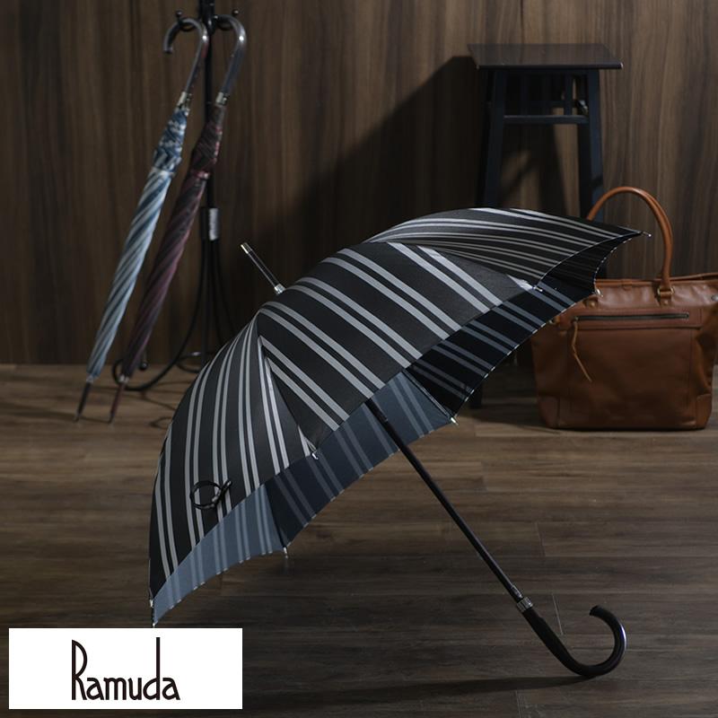 Ramuda 甲州織 レジメン ストライプ 雨傘 8本骨 65 鉄木持ち手 UV加工 細巻き 長傘