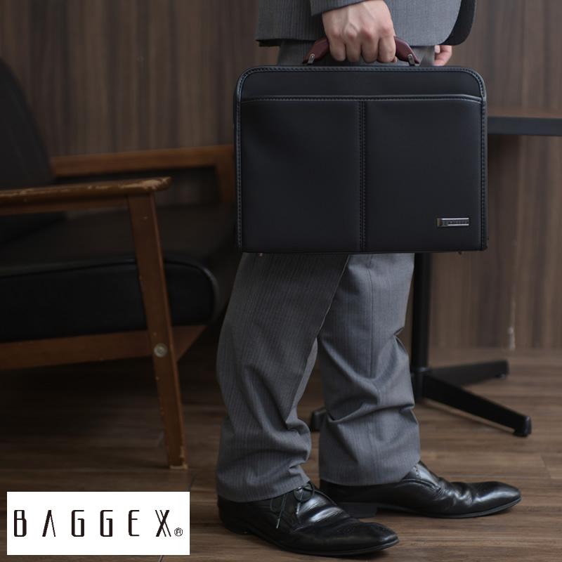 【 ポイント2倍 】 BAGGEX スリム ダレスバッグ 陽 B5サイズ ブラック 23-0589 男性用 メンズ ダレスバッグ ビジネスバッグ 薄い 薄マチ 薄型 ナイロン 2way ショルダー付き 日本製 豊岡製鞄 木製ハンドル 持ち手 鞄 かばん バッグ 【送料無料】