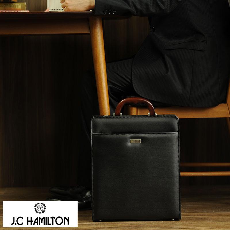 【 ポイント2倍 】 ダレスバッグ メンズ J.C HAMILTON 縦型ダレスバッグ 木製ハンドル ブラック No.22310-01 豊岡製 ドクターバッグ ビジネスバッグ 日本製 合皮 A4 2way ブリーフケース 【送料無料】
