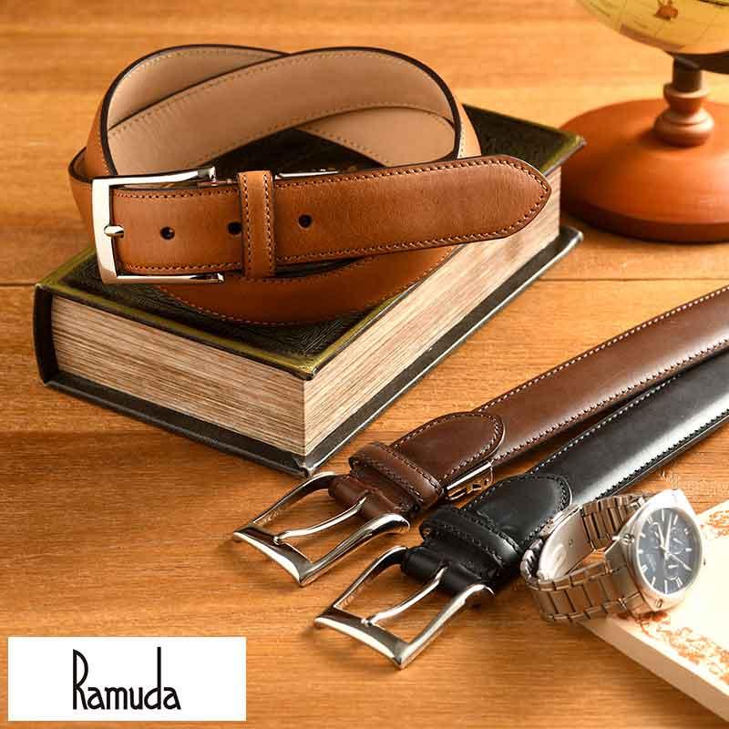 【 ポイント2倍 】 ベルト メンズ 本革 Ramuda 日本製 レザーベルト 33mm幅 ブッテーロレザー メンズベルト イタリアレザー ビジネス シンプル おしゃれ 男性 紳士