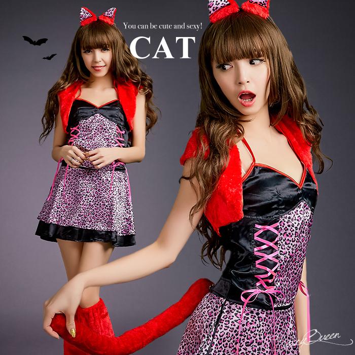 ハロウィン コスプレ 猫 ネコ 仮装 セクシー 衣装 レオパード コスプレ衣装 ピンク ヒョウガール コスチューム 仮装 変装 大人 猫 レオパード 豹柄 女豹 cat costume 通販