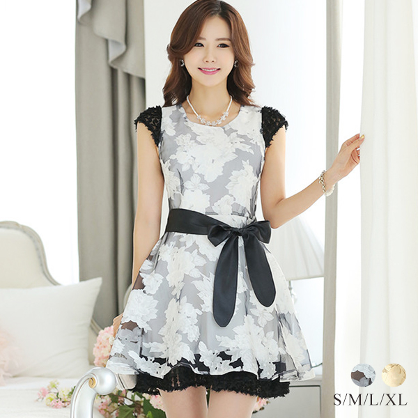 d9095acdd5d Cute spring dress one piece short sleeve women s Sleeveless invited adults  by 2015 cute new northribwampi spring summer knee-length large size floral  A line ...