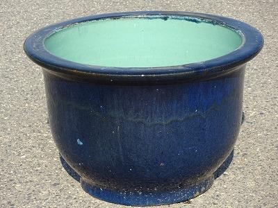 水鉢 8【青釉】 Aサイズ 大きい水鉢 大きい睡蓮鉢 メダカ 金魚鉢 きれいな睡蓮鉢