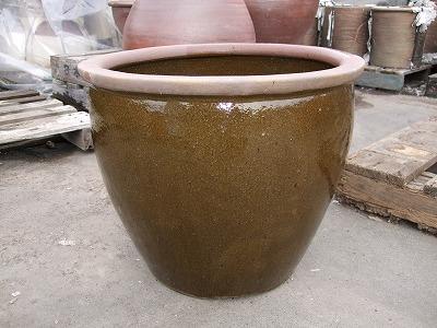 水鉢 2【茶釉】Aサイズ 睡蓮鉢 水鉢 メダカ 飼育 鉢