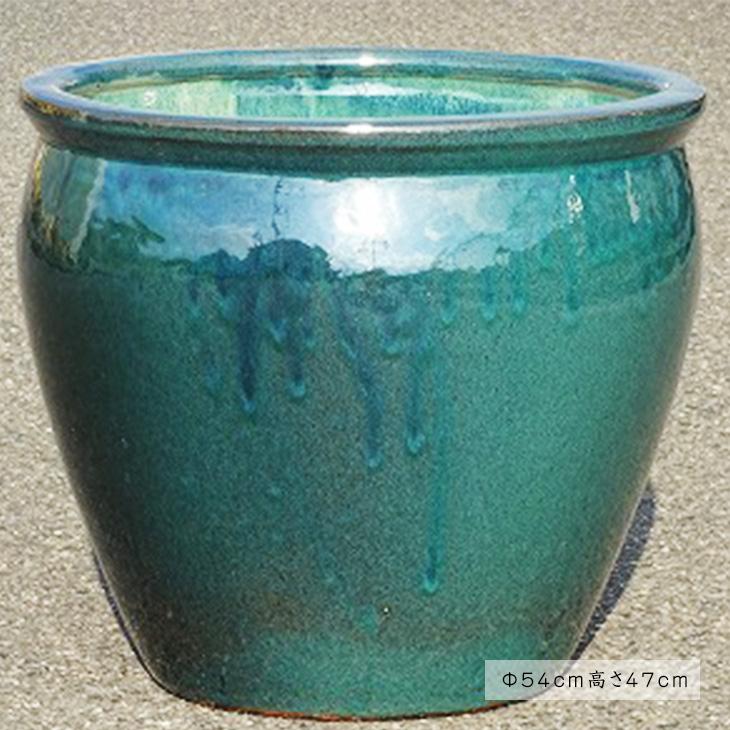 【送料無料】水鉢 2【青釉】Cサイズ 睡蓮鉢 水鉢 メダカ 金魚 飼育 鉢